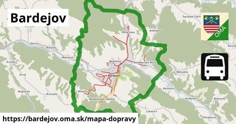 ikona Bardejov: 180km trás mapa-dopravy  bardejov
