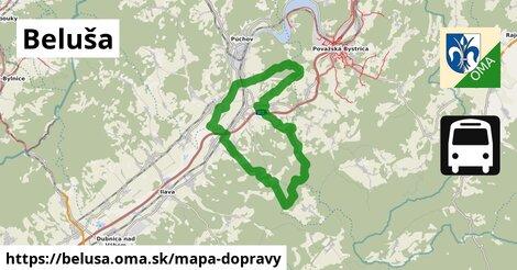 ikona Beluša: 21km trás mapa-dopravy  belusa