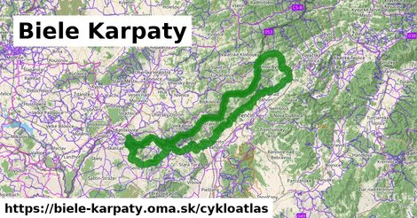 ikona Biele Karpaty: 305km trás cykloatlas  biele-karpaty