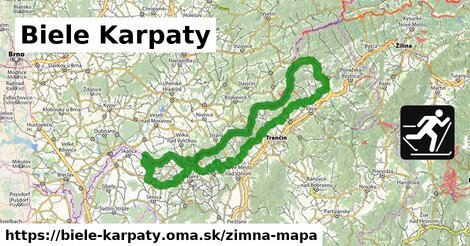 ikona Biele Karpaty: 22km trás zimna-mapa  biele-karpaty