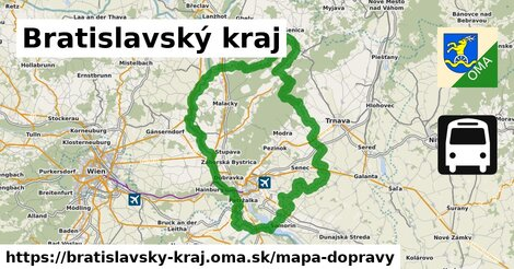 ikona Bratislavský kraj: 7,35tisíckm trás mapa-dopravy  bratislavsky-kraj