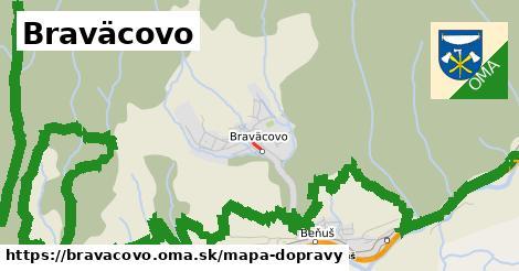 ikona Braväcovo: 222m trás mapa-dopravy  bravacovo