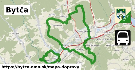 ikona Bytča: 62km trás mapa-dopravy v bytca