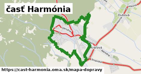 ikona časť Harmónia: 4,7km trás mapa-dopravy v cast-harmonia