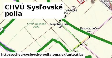 ikona Mapa autoatlas  chvu-syslovske-polia