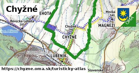ikona Chyžné: 12,7km trás turisticky-atlas  chyzne