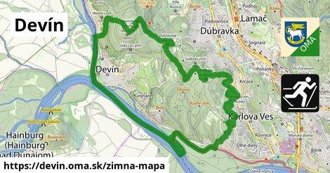 ikona Devín: 0,70km trás zimna-mapa  devin