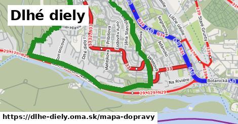 ikona Dlhé diely: 9,1km trás mapa-dopravy v dlhe-diely