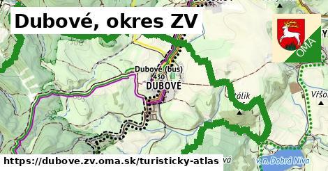 ikona Dubové, okres ZV: 7,3km trás turisticky-atlas  dubove.zv