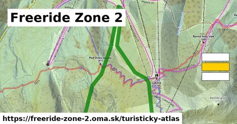 ikona Freeride Zone 2: 2,1 km trás turisticky-atlas  freeride-zone-2