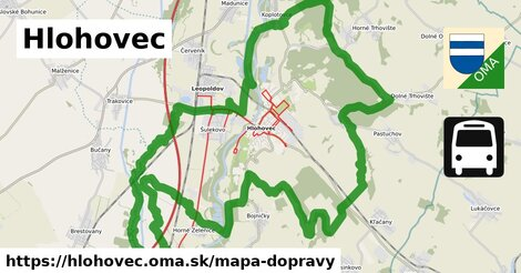 ikona Hlohovec: 22km trás mapa-dopravy  hlohovec