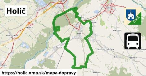 ikona Holíč: 10,9km trás mapa-dopravy  holic