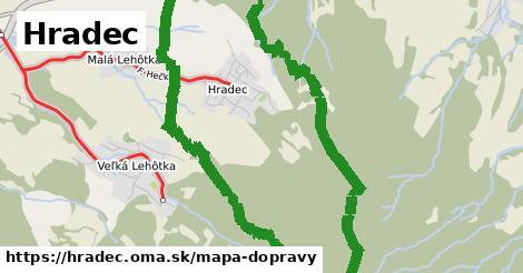 ikona Hradec: 607m trás mapa-dopravy  hradec