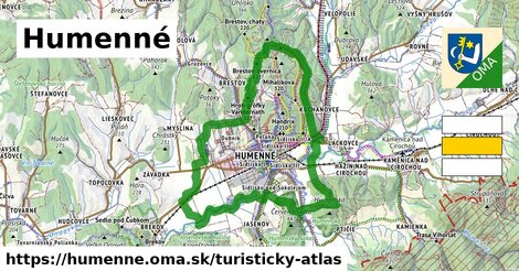 ikona Humenné: 33km trás turisticky-atlas  humenne