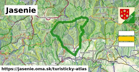 ikona Jasenie: 73km trás turisticky-atlas  jasenie