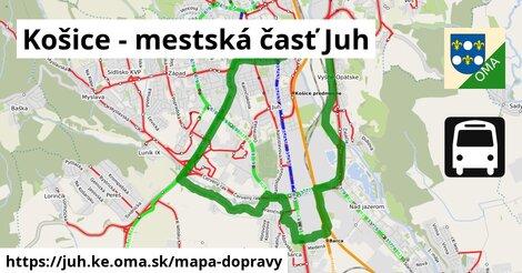 ikona Košice - mestská časť Juh: 107km trás mapa-dopravy  juh.ke
