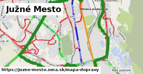 ikona Južné Mesto: 113km trás mapa-dopravy  juzne-mesto