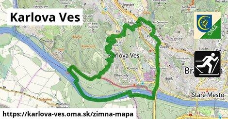 ikona Karlova Ves: 1,21km trás zimna-mapa  karlova-ves