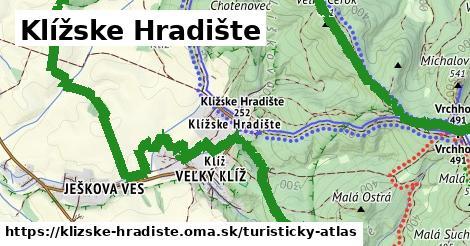 ikona Klížske Hradište: 10,9km trás turisticky-atlas  klizske-hradiste