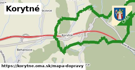 ikona Korytné: 5,8km trás mapa-dopravy v korytne