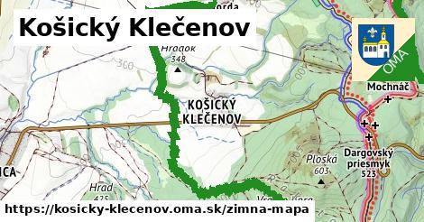 ikona Košický Klečenov: 9,8km trás zimna-mapa v kosicky-klecenov