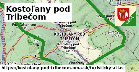 ikona Kostoľany pod Tribečom: 16km trás turisticky-atlas  kostolany-pod-tribecom