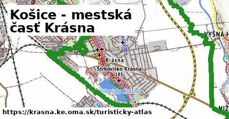 ikona Košice - mestská časť Krásna: 3,7km trás turisticky-atlas  krasna.ke
