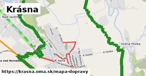 ikona Krásna: 17km trás mapa-dopravy  krasna