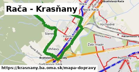 ikona Rača - Krasňany: 89km trás mapa-dopravy v krasnany.ba