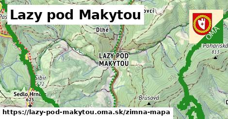 ikona Lazy pod Makytou: 6,9km trás zimna-mapa v lazy-pod-makytou