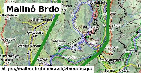 ikona Malinô Brdo: 4,5km trás zimna-mapa  malino-brdo