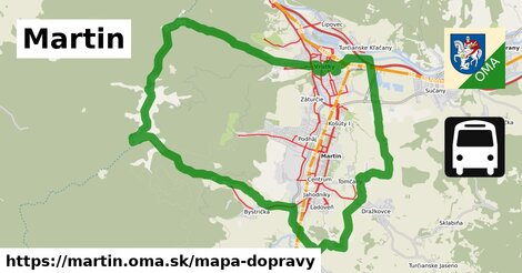 ikona Martin: 87km trás mapa-dopravy  martin