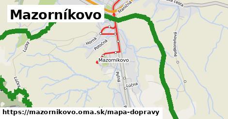 ikona Mazorníkovo: 10,4km trás mapa-dopravy v mazornikovo