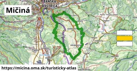 ikona Mičiná: 16km trás turisticky-atlas  micina