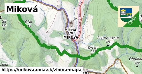 ikona Miková: 3,7km trás zimna-mapa v mikova
