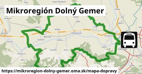 ikona Mikroregión Dolný Gemer: 14,5km trás mapa-dopravy  mikroregion-dolny-gemer