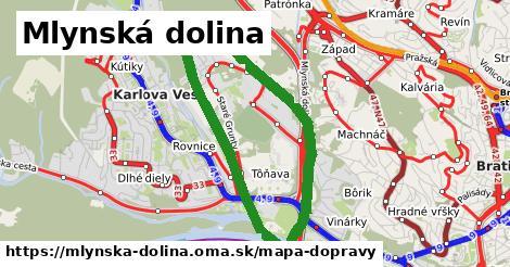 ikona Mlynská dolina: 66km trás mapa-dopravy v mlynska-dolina