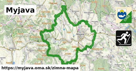 ikona Myjava: 2,5km trás zimna-mapa  myjava