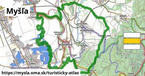 ikona Turistická mapa turisticky-atlas  mysla