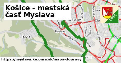 ikona Košice - mestská časť Myslava: 2,1km trás mapa-dopravy  myslava.ke