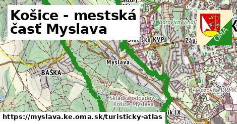 ikona Košice - mestská časť Myslava: 5,8km trás turisticky-atlas  myslava.ke