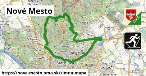 ikona Nové Mesto: 13,9km trás zimna-mapa  nove-mesto
