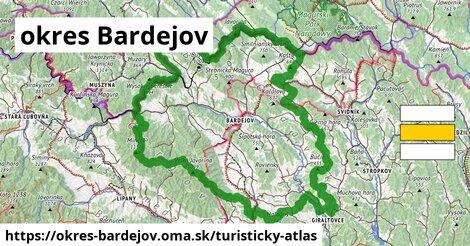 ikona okres Bardejov: 432km trás turisticky-atlas  okres-bardejov