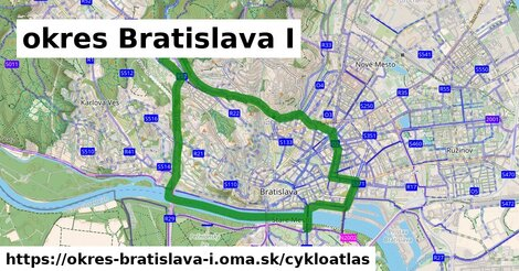 ikona okres Bratislava I: 60km trás cykloatlas  okres-bratislava-i