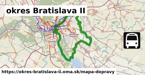 ikona okres Bratislava II: 970km trás mapa-dopravy  okres-bratislava-ii