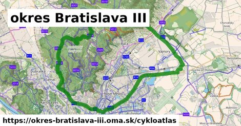 ikona okres Bratislava III: 212km trás cykloatlas  okres-bratislava-iii