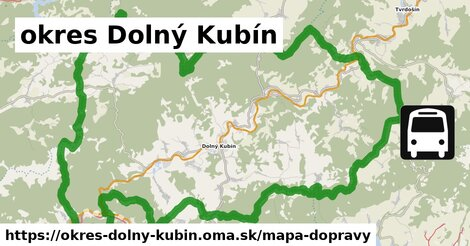 ikona okres Dolný Kubín: 104km trás mapa-dopravy  okres-dolny-kubin