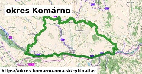 ikona okres Komárno: 229km trás cykloatlas  okres-komarno