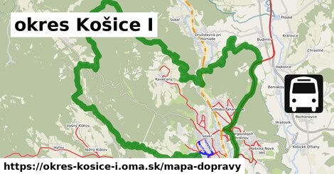 ikona okres Košice I: 258km trás mapa-dopravy  okres-kosice-i