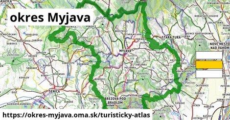 ikona okres Myjava: 289km trás turisticky-atlas  okres-myjava